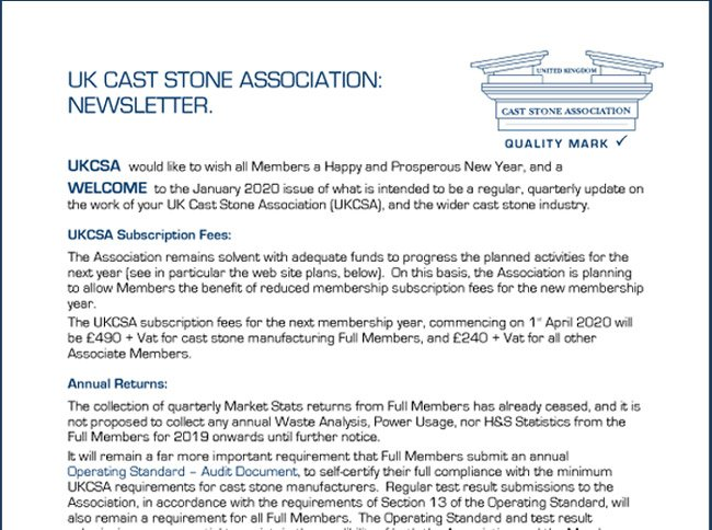 UKCSA Newsletter January 2020
