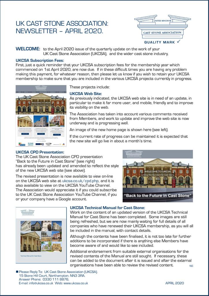UKCSA Newsletter April 2020