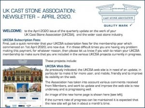 UKCSA Newsletter 2020 April